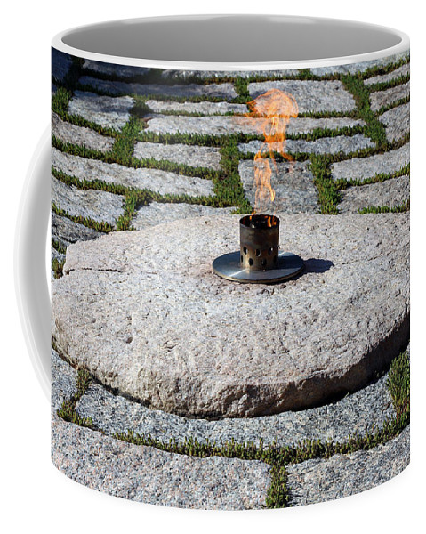 Eternal Coffee Mug featuring the photograph The Eternal Flame At President John F. Kennedy's Grave by Cora Wandel