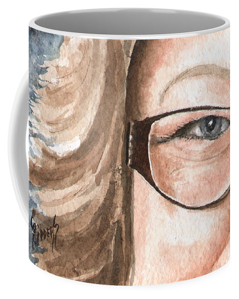 Eyes Coffee Mug featuring the painting The Eyes Have It - Emma by Sam Sidders
