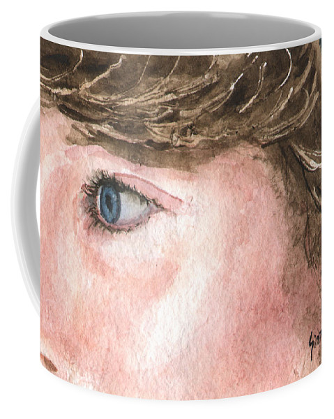 Franci Coffee Mug featuring the painting The Eyes Have It - Franci by Sam Sidders