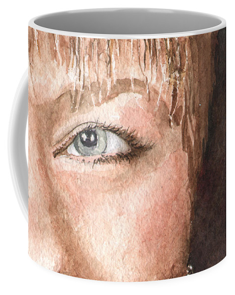Eyes Coffee Mug featuring the painting The Eyes Have It - Shelly by Sam Sidders