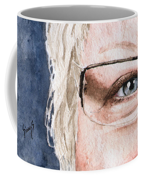 Protrait Coffee Mug featuring the painting The Eyes Have It - Vickie by Sam Sidders