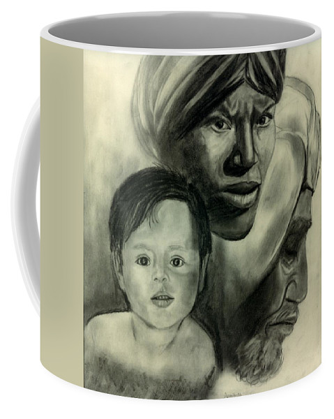 Ethnic Coffee Mug featuring the drawing The Faces Of Man by Anastasia Savage Ealy