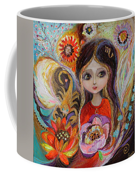 Portrait Coffee Mug featuring the painting The Fairies Of Zodiac Series - Scorpio by Elena Kotliarker