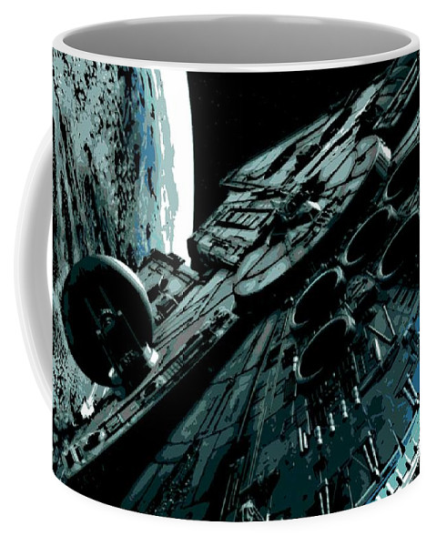 Millenium Falcon Coffee Mug featuring the painting the Falcon by George Pedro