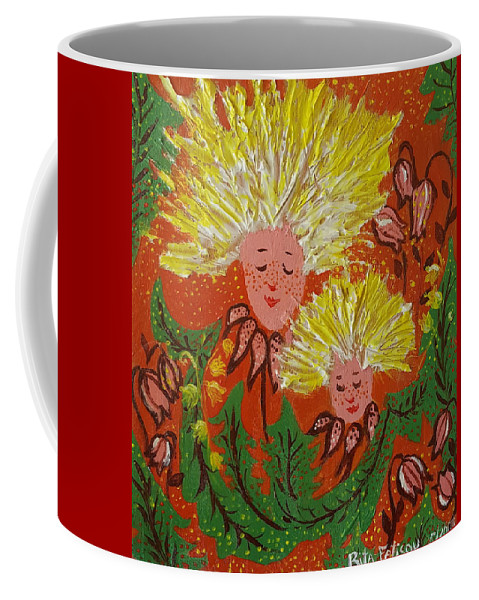 Dandelion Coffee Mug featuring the painting Family by Rita Fetisov