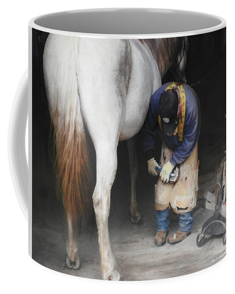 Horses Coffee Mug featuring the mixed media The Farrier by Catherine Gauldin