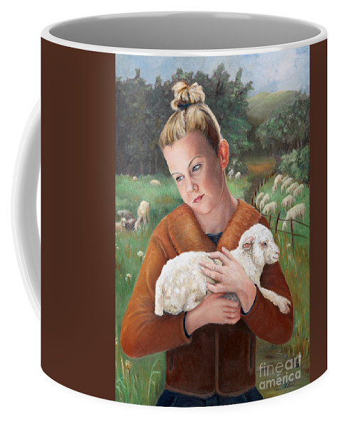 Easter Coffee Mug featuring the painting The Favorite by Portraits By NC