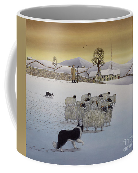 Sheep Coffee Mug featuring the painting The Fells In Winter by Larry Smart