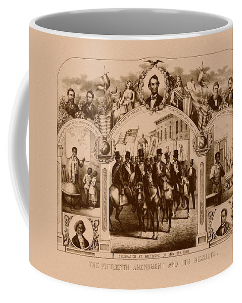 Black History Coffee Mug featuring the mixed media The Fifteenth Amendment And Its Results by War Is Hell Store