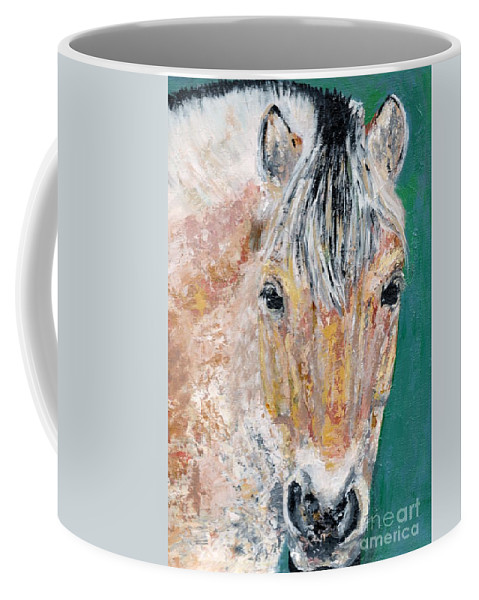 Fijord Horse Coffee Mug featuring the painting The Fijord by Frances Marino