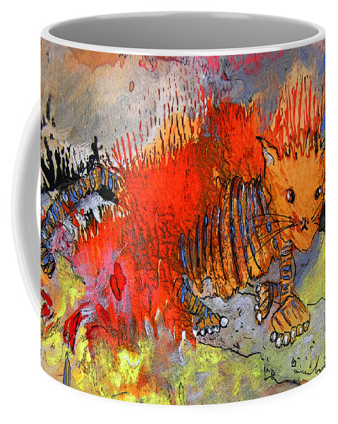 Firecat Coffee Mug featuring the painting The Firecat by Miki De Goodaboom