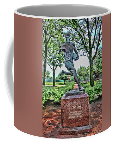 Rutgers Coffee Mug featuring the photograph The First Football Game Monument by Allen Beatty