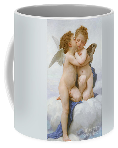 Cherubs; Cherub; Putti; Boy; Girl; Kissing; Embracing; Wings; Nude; Affection; Innocence; Cloud; Kiss Coffee Mug featuring the painting The First Kiss by William Adolphe Bouguereau