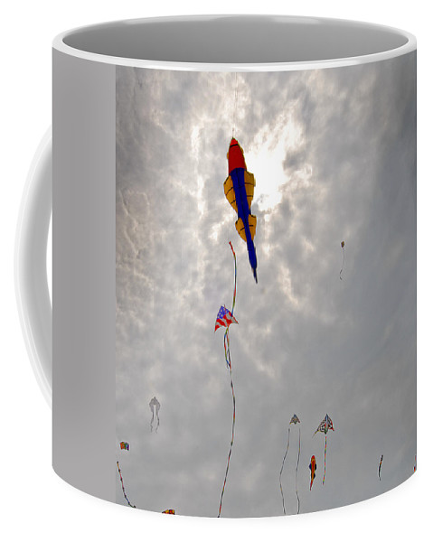 Fish Coffee Mug featuring the photograph The Fish Fly Over The Jockeys' Ridge by Robert Ponzoni