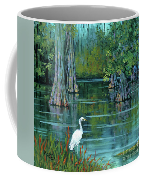 Louisiana Bayou Coffee Mug featuring the painting The Fisherman by Dianne Parks