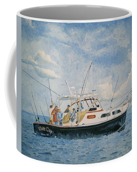 Fishing Coffee Mug featuring the painting The Fishing Charter - Cape Cod Bay by Dominic White