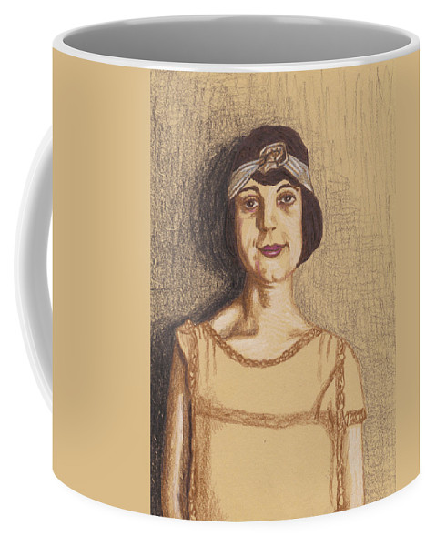 Woman Coffee Mug featuring the drawing The Flapper by Jean Haynes