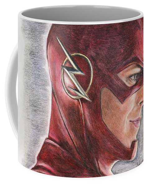 The Flash Coffee Mug featuring the drawing The Flash / Grant Gustin by Christine Jepsen