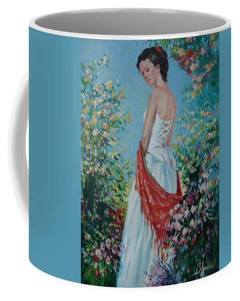 Oil Coffee Mug featuring the painting The Florist In A Red Kerchief by Sergey Ignatenko