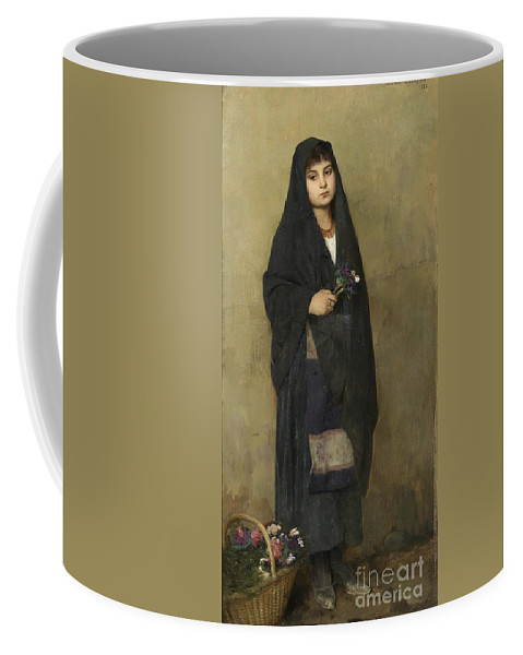 Gustave Courtois 1852-1923 The Flower Girl Coffee Mug featuring the painting The Flower Girl by MotionAge Designs