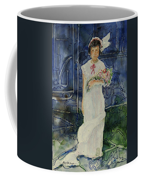 Flower Girl Coffee Mug featuring the painting The Flower Holder by Shirley Sykes Bracken