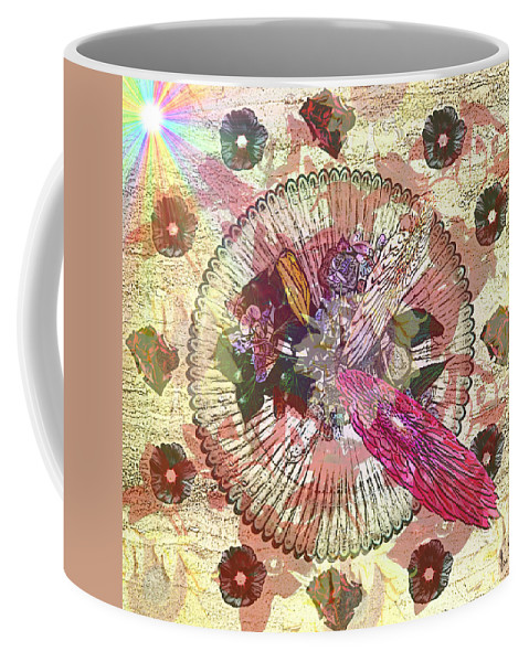 Flowers Coffee Mug featuring the digital art The Flowerclock by Helmut Rottler