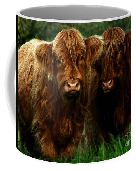 Heilan Coo Coffee Mug featuring the photograph The Fluffy Cows by Angel Tarantella