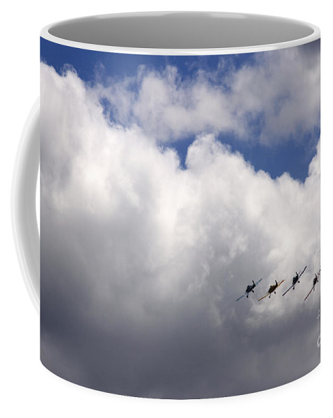 Formation Coffee Mug featuring the photograph The Flying Beetles by Angel Ciesniarska