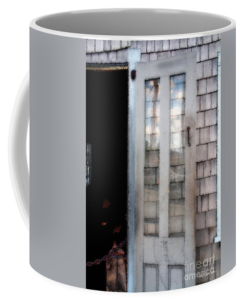 Door Coffee Mug featuring the painting The Forge And The Ship by RC DeWinter