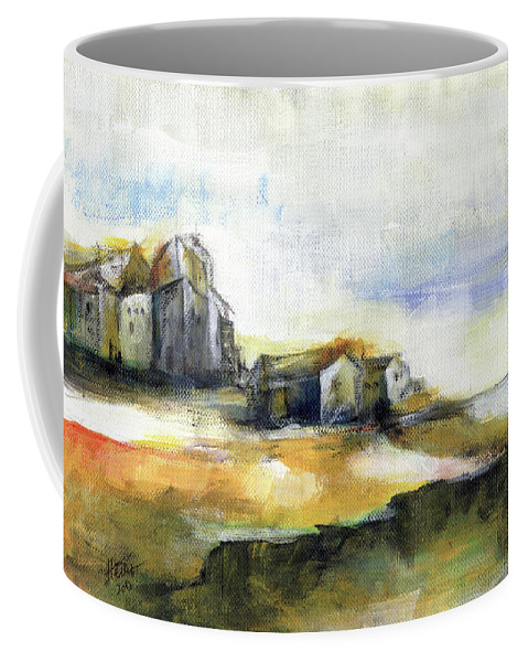 Abstract Landscape Coffee Mug featuring the painting The Fortress by Aniko Hencz