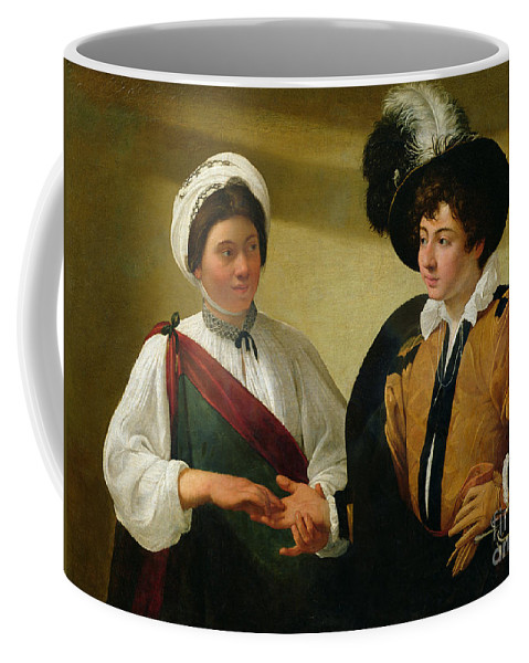 The Fortune Teller Coffee Mug featuring the painting The Fortune Teller by Michelangelo Merisi da Caravaggio