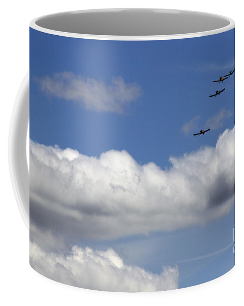 Airshow Coffee Mug featuring the photograph The Four Flying Beetles by Angel Ciesniarska