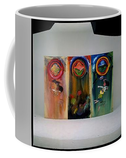 Fall From Grace Coffee Mug featuring the painting The Fruit Machine Stops by Charles Stuart