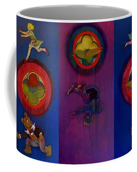 The Drums Of The Fruit Machine Stop At Random. Triptych Coffee Mug featuring the painting The Fruit Machine Stops II by Charles Stuart
