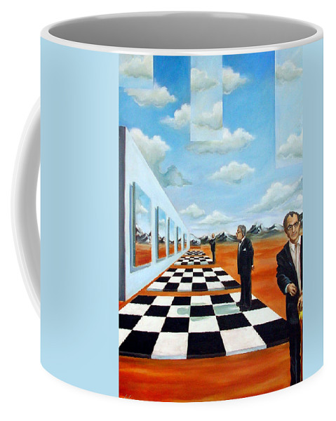 Surreal Coffee Mug featuring the painting The Gallery by Valerie Vescovi