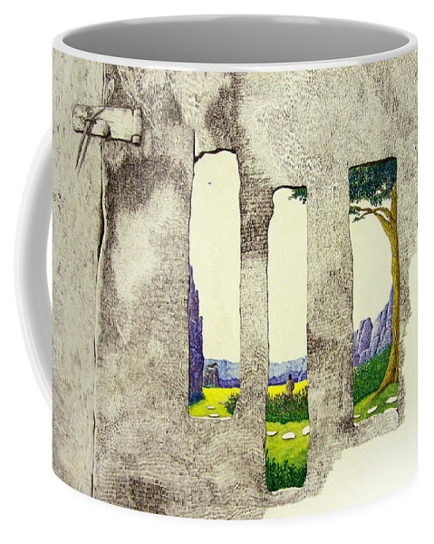 Imaginary Landscape. Coffee Mug featuring the painting The Garden by A Robert Malcom