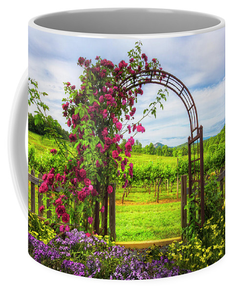 Appalachia Coffee Mug featuring the photograph The Garden At The Winery by Debra and Dave Vanderlaan
