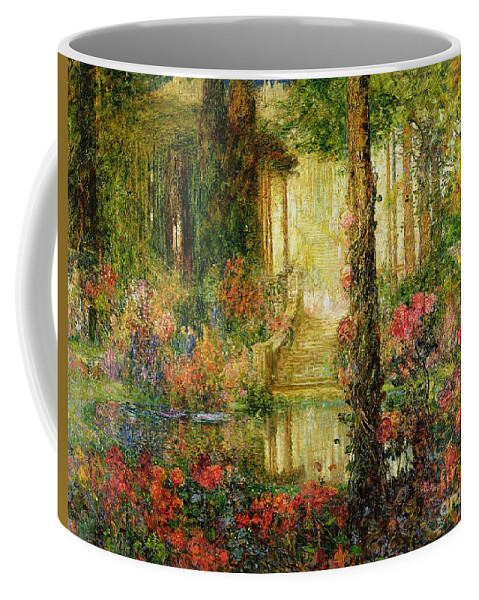 The Coffee Mug featuring the painting The Garden of Enchantment by Thomas Edwin Mostyn