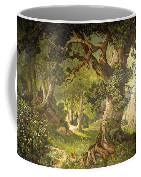 Oak Coffee Mug featuring the painting The Garden Of The Magician Klingsor, From The Parzival Cycle, Great Music Room by Christian Jank