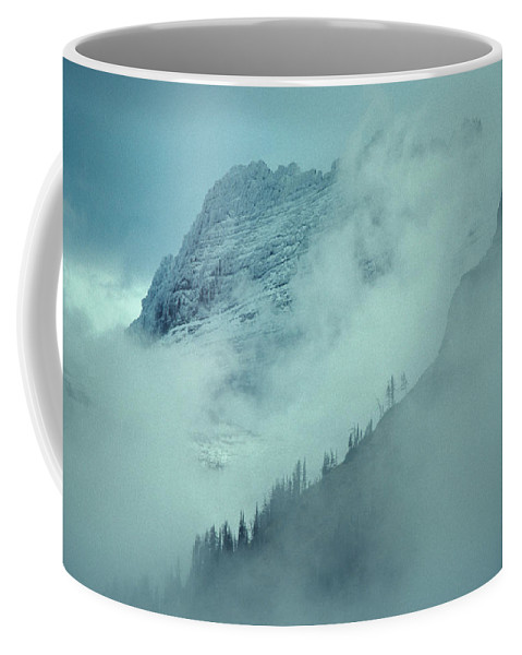 Nobody Coffee Mug featuring the photograph The Garden Wall Veiled By Clouds by Michael S. Quinton
