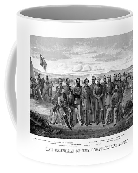 Civil War Coffee Mug featuring the mixed media The Generals Of The Confederate Army by War Is Hell Store