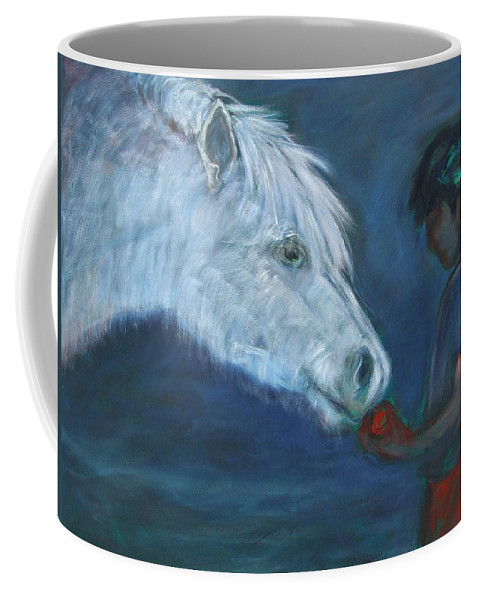 Katt Yanda Original Art Horse Oil Painting Canvas Boy Giving Apple To White Pony Gift Eat Share Coffee Mug featuring the painting The Gift by Katt Yanda