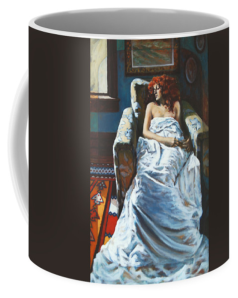 Window Coffee Mug featuring the painting The Girl In The Chair by Rick Nederlof