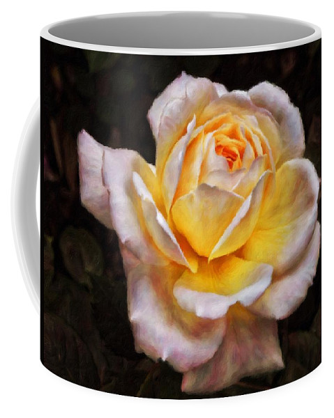 Rose Coffee Mug featuring the painting The Glowing Rose by Philip Openshaw