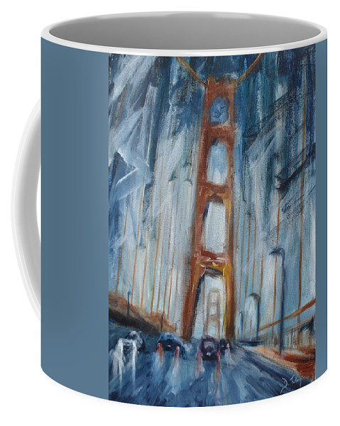 Golden Gate Bridge Coffee Mug featuring the painting The Golden Gate by Donna Tuten