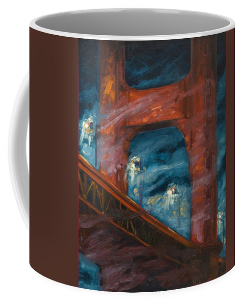 Bridge Coffee Mug featuring the painting The Golden Gate by Rick Nederlof