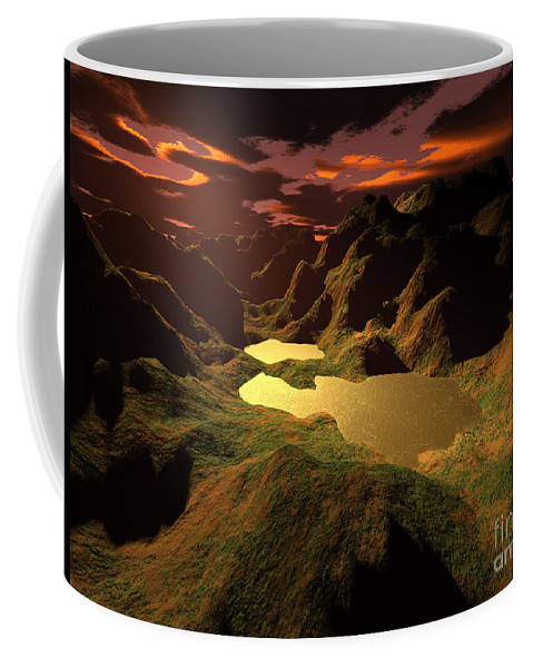 Digital Art Coffee Mug featuring the digital art The Golden Lake by Gaspar Avila