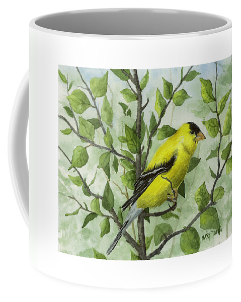 Birds Coffee Mug featuring the painting The Goldfinch by Mary Tuomi