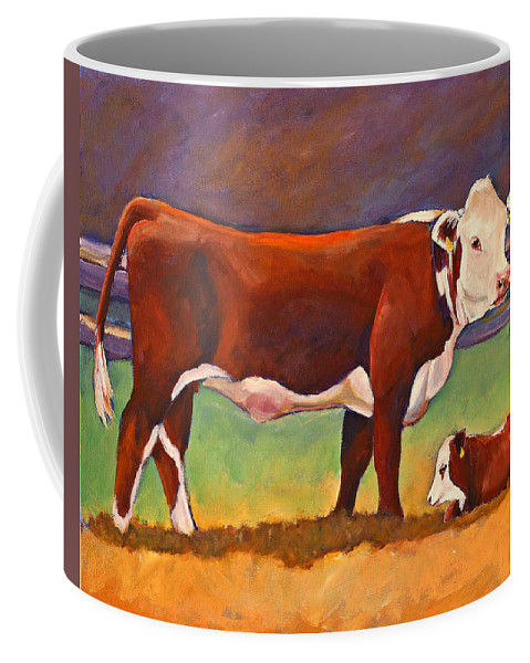 Folk Art Coffee Mug featuring the painting The Good Mom Folk Art Hereford Cow And Calf by Toni Grote