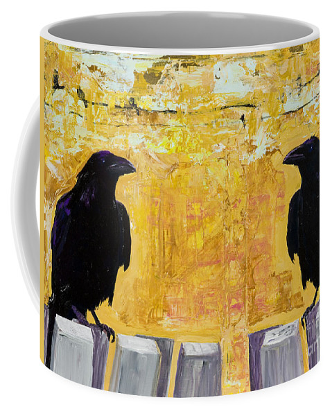 Abstract Realism Coffee Mug featuring the painting The Gossips by Pat Saunders-White